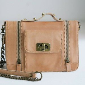 AYRES Natural Leather Rock Chic Chain Strap bag